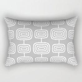 Mid Century Modern Atomic Rings Pattern Gray Rectangular Pillow