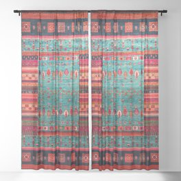 Anthropologie Ortiental Traditional Moroccan Style Artwork Sheer Curtain