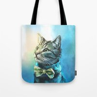 pie Tote Bags featuring Handsome Cat by Alice X. Zhang