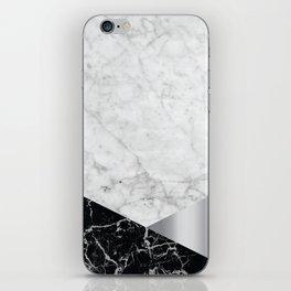 White Marble Black Granite & Silver #230 iPhone Skin
