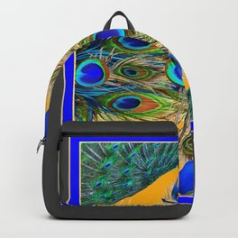 GREY SITTING BLUE PEACOCKS  GOLDEN FEATHER DESIGN Backpack
