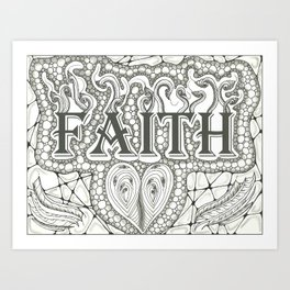 Faith Black and White Art Print
