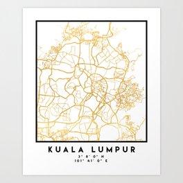 KUALA LUMPUR MALAYSIA CITY STREET MAP ART Art Print