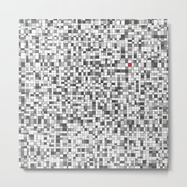 Gray Scale and Red Grid - Something's Still Here Metal Print
