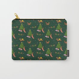 Christmas Dachshunds - Green Carry-All Pouch