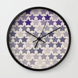 Blue Purple Stars Wall Clock