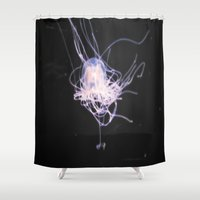 jelly fish Shower Curtains featuring neon jelly by Jorgenson Art Syndicate