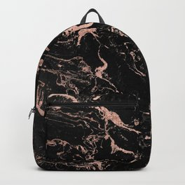 Modern girly faux rose gold foil black marble Backpack