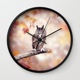 Great Horned Owl perched in the autumn woods Wall Clock