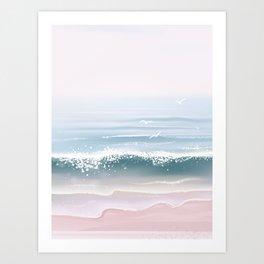 Beach, Sea, Sky ,Landscape ,Clouds, Art Print