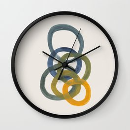Minimalist Mid Century Modern Colorful Rings Navy Blue Yellow Olive Green Spirals by Ejaaz Haniff Wall Clock
