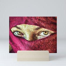Little Wanderer in hijab painting portrait - Jeanpaul Ferro Mini Art Print