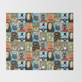 Studio Ghibli Collage - Calcifer, Jiji, Turnip, No Face, Markl, Kodama, Cat Bus & Soot Sprites Throw Blanket