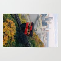 steelers Area & Throw Rugs featuring An Autumn Day on the Duquesne Incline in Pittsburgh, Pennsylvania by Ed Lightcap