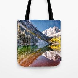 OLena Art Maroon Bells And Maroon Lake Near Aspen Colordo Tote Bag