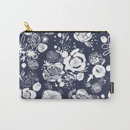 Summer Garden Indigo Floral Pattern Carry-All Pouch