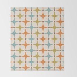 Mid Century Modern Star Pattern 817 Orange Brown Blue and Olive Green Throw Blanket