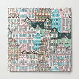 City Houses in Pastel Colours Metal Print