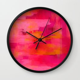 """Abstract brushstrokes in pastel pinks and solar orange"" Wall Clock"