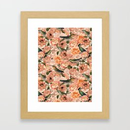 Nostalgic Flower And Hummingbird Pattern Framed Art Print