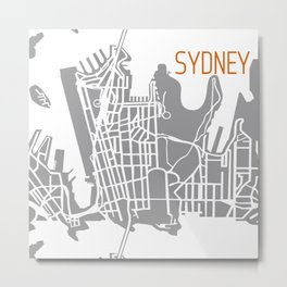 Sydney grey and white map Metal Print
