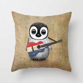 Baby Penguin Playing Dutch Flag Acoustic Guitar Throw Pillow