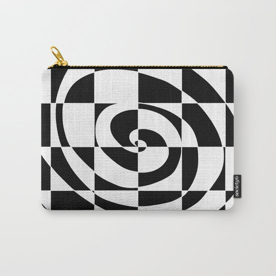 Black And White Swirl Carry-All Pouch