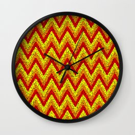 red yellow zigzag Wall Clock