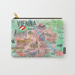 Vienna Austria Illustrated Map with Landmarks and Highlights Carry-All Pouch