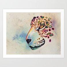 Fractal Jaguar Art Print