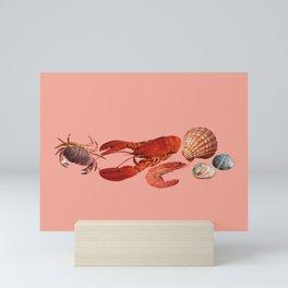 seafood shell scallop lobster shrimps coral Mini Art Print