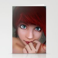 redhead Stationery Cards featuring Redhead by womoomow