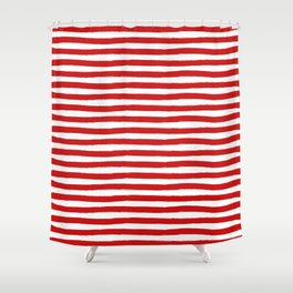 Red Horizontal Stripes Shower Curtain