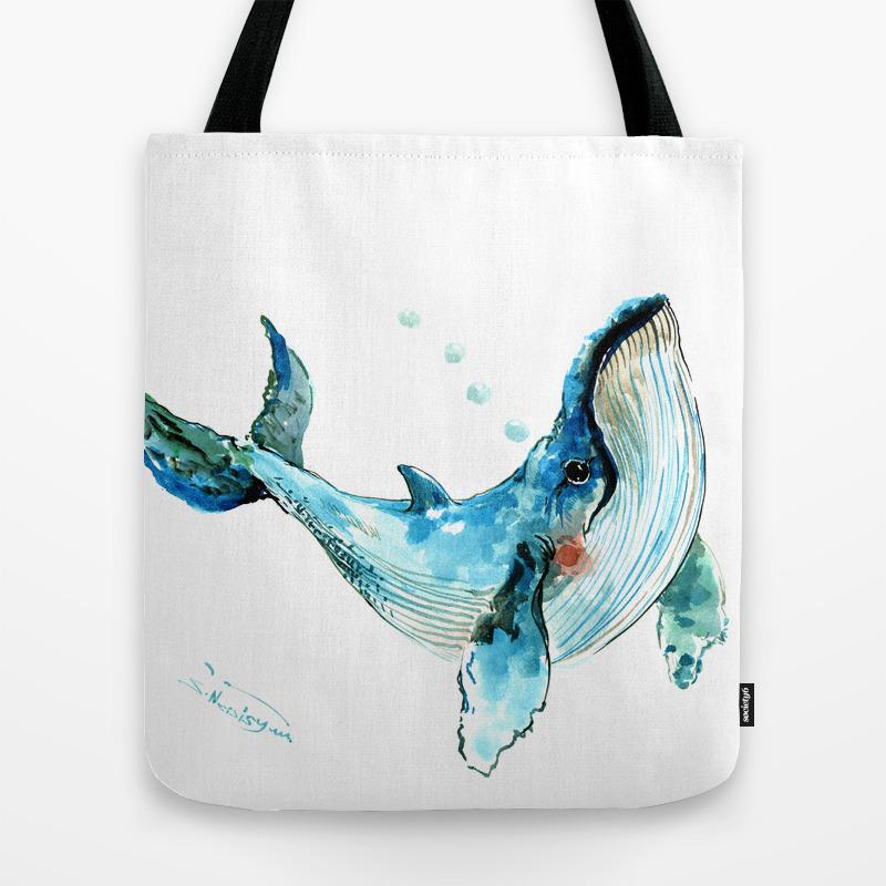 Humpback Whale Artwork Children Ilration Cute Little Design Tote Bag