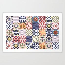 Portuguese pattern color Art Print