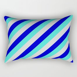 Light Grey, Blue, and Turquoise Colored Lined/Striped Pattern Rectangular Pillow