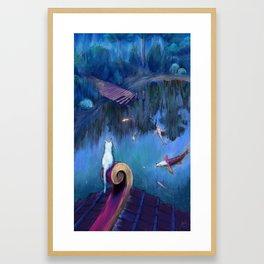 White cat and koi fish Framed Art Print