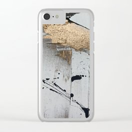 Still: an abstract mixed media piece in black, white, and gold by Alyssa Hamilton Art Clear iPhone Case