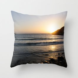Sunset with golden ocean Throw Pillow