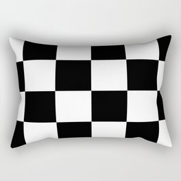 Large Checkered - White and Black Rectangular Pillow