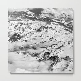 Snow Mountains and Clouds Black and White Aerial View Metal Print