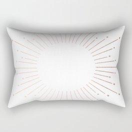 Sunburst Moon Dust Bronze on White Rectangular Pillow