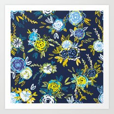 Flower Garden in Navy Neon Art Print