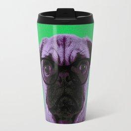 Geek Pug in Green Background Travel Mug