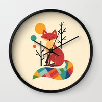 grey Wall Clocks featuring Rainbow Fox by Andy Westface