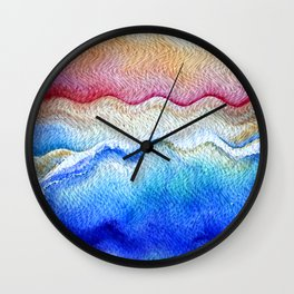 Sunset waves in watercolor Wall Clock