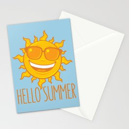 Hello Summer Sun With Sunglasses Stationery Cards