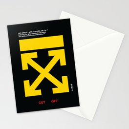 Yellow Arrows Cross Cut Off White Stationery Cards