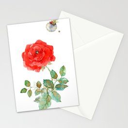 Le Petit Prince Little Prince with Fox & Rose vertical Stationery Cards