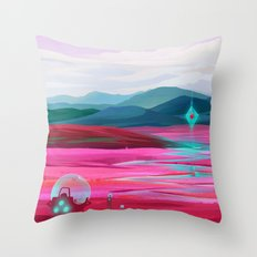 Pink fields Throw Pillow